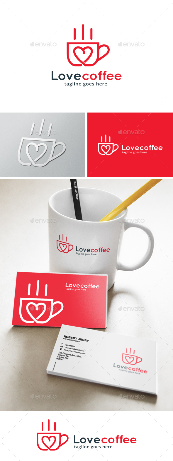 Love Coffee Logo - Objects Logo Templates