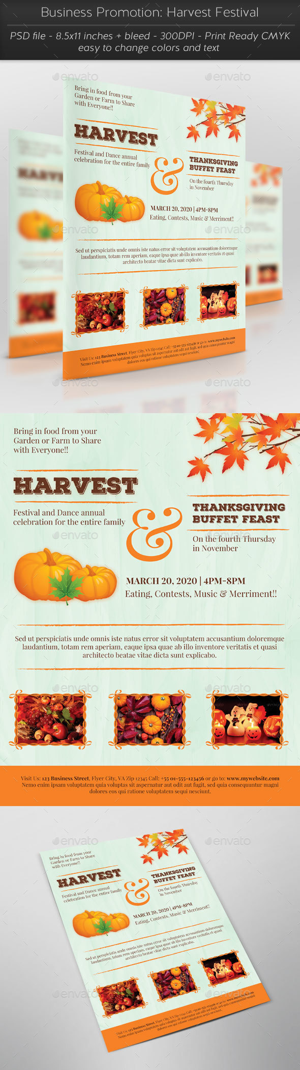 Business Promotion: Harvest Festival - Flyers Print Templates