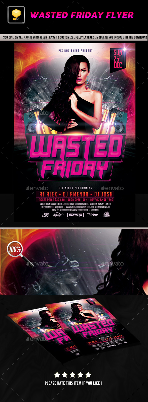 Wasted Friday Flyer - Clubs & Parties Events