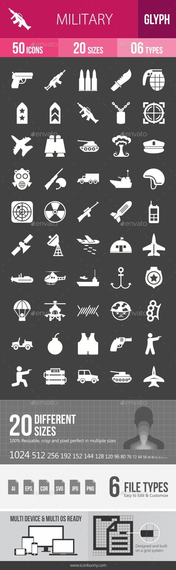 Military Glyph Inverted Icons - Icons