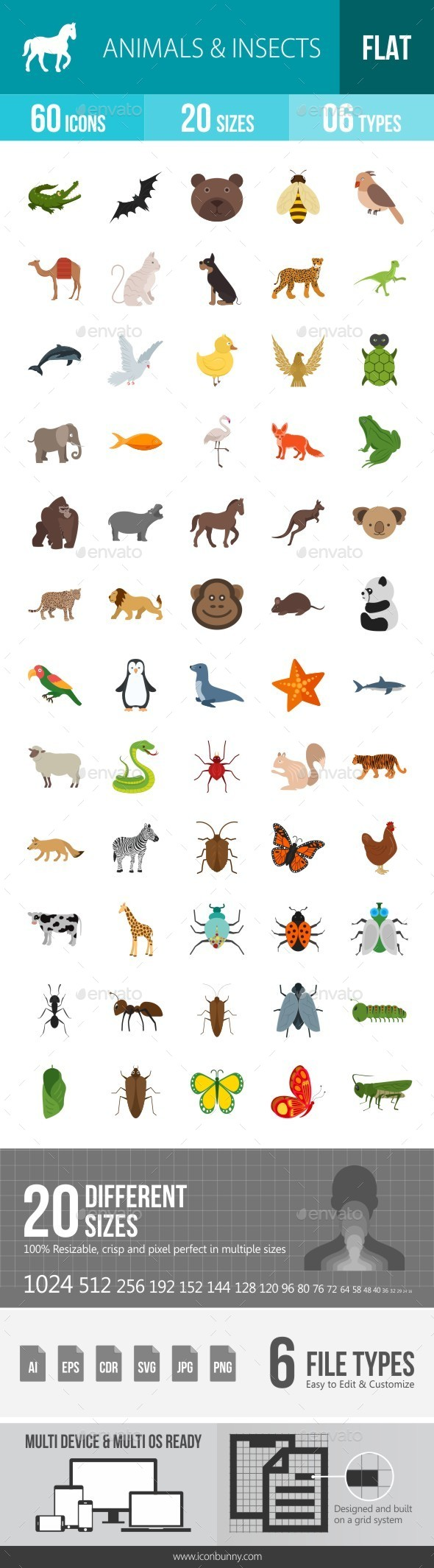 Animals & Insects Flat Multicolor Icons - Icons