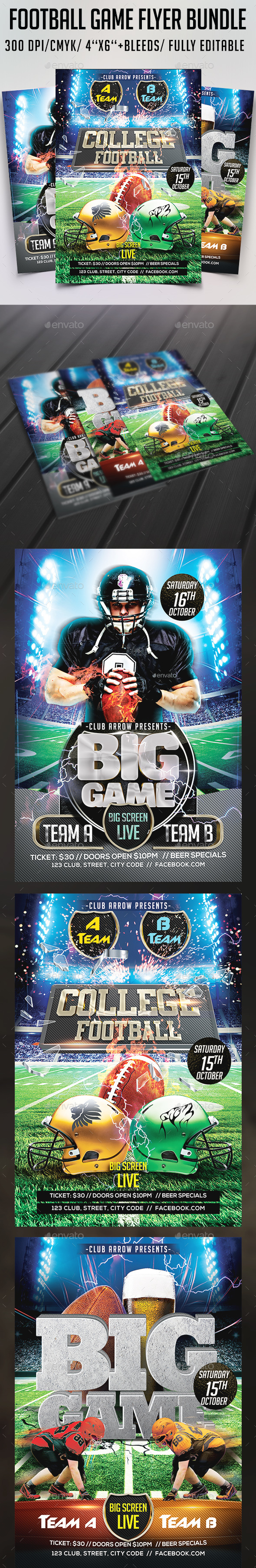 Football Game Flyer Bundle - Sports Events