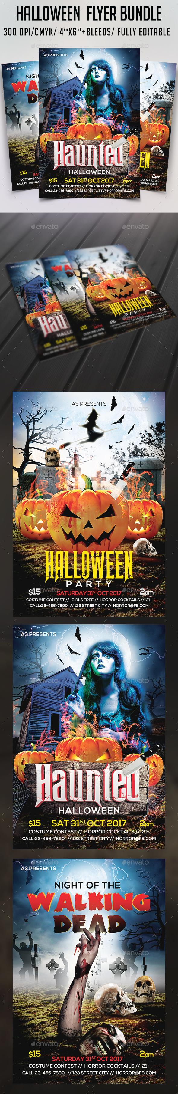 Halloween  Flyer Bundle Vol 2 - Clubs & Parties Events