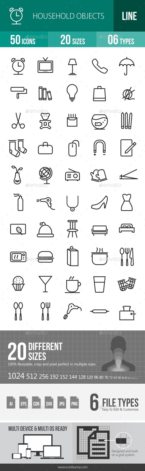 Household Objects Line Icons - Icons