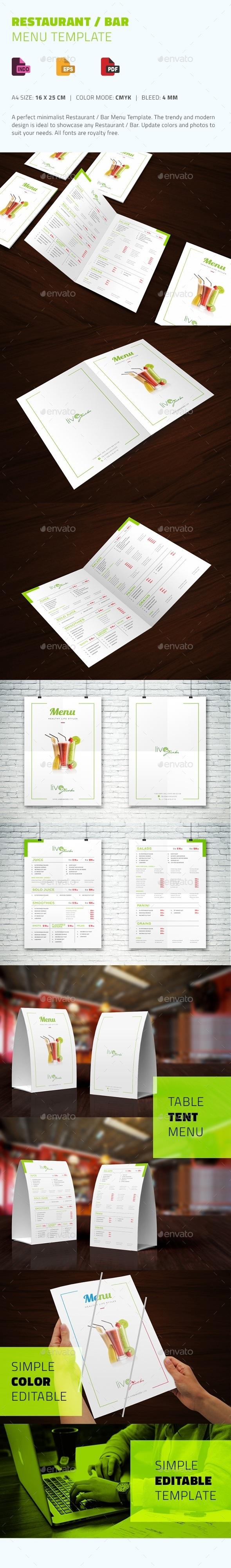 Restaurant / Bar Menu Template - Food Menus Print Templates