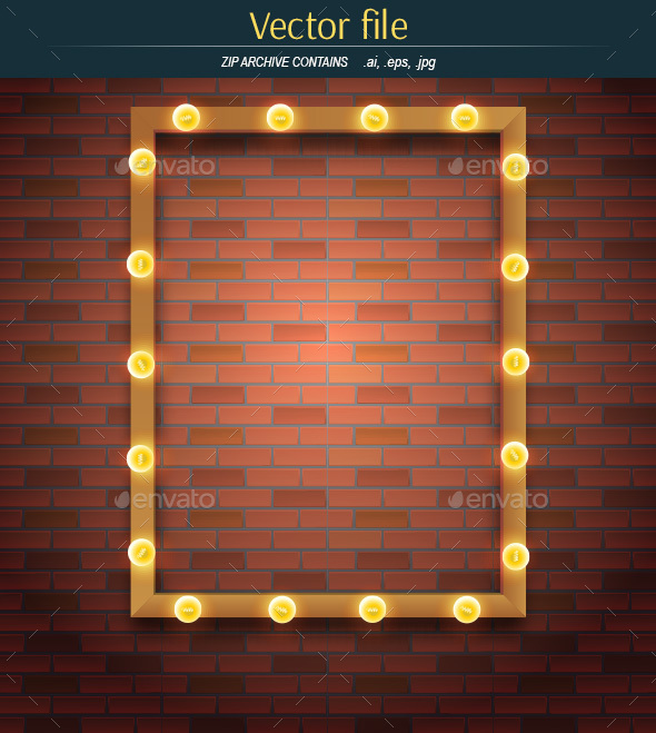 Light Bulbs and Frame on Brick Background - Backgrounds Decorative