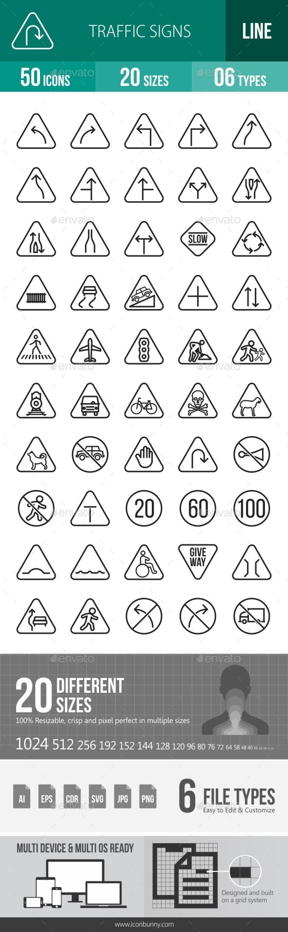 Traffic Signs Line Icons - Icons