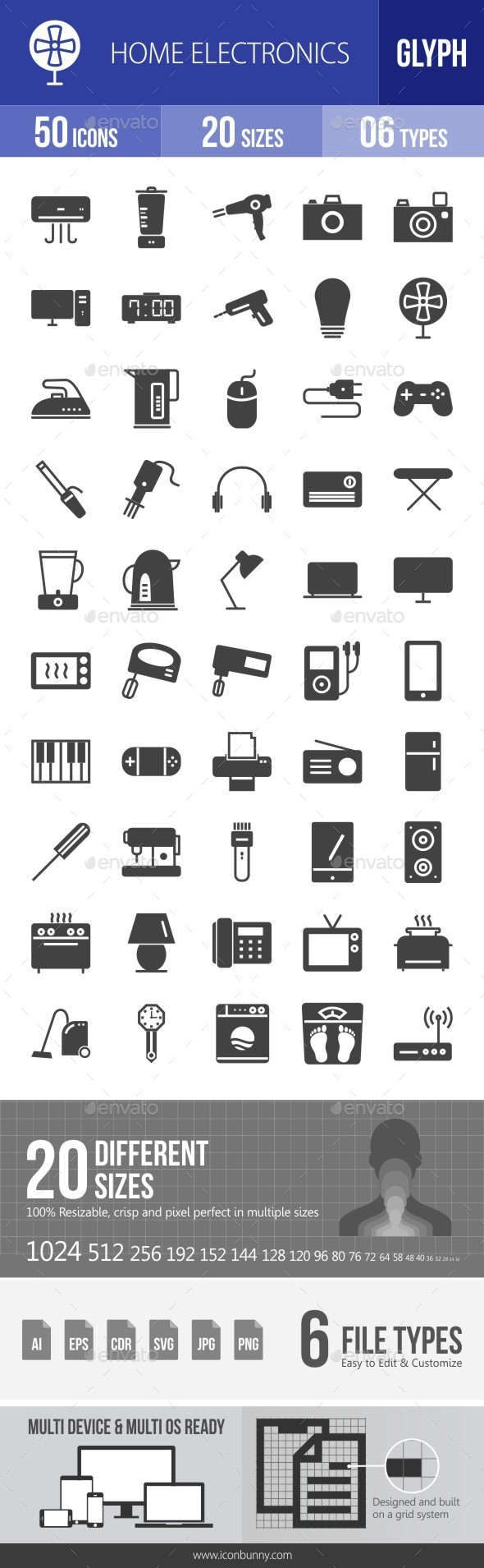 Home Electronics Glyph Icons - Icons