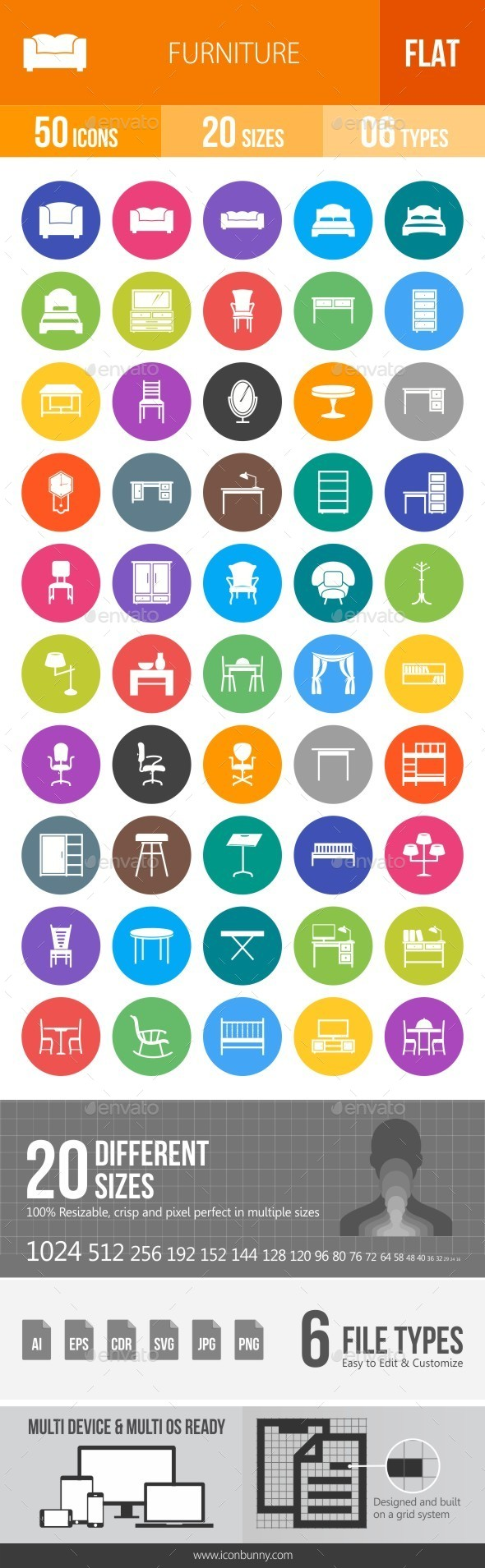 Furniture Flat Round Icons - Icons