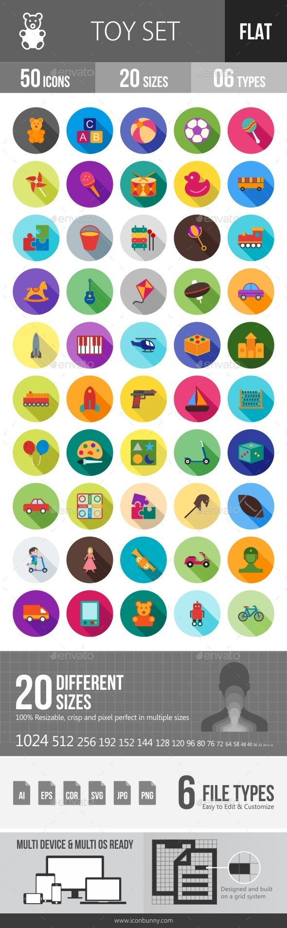 Toys Flat Shadowed Icons - Icons