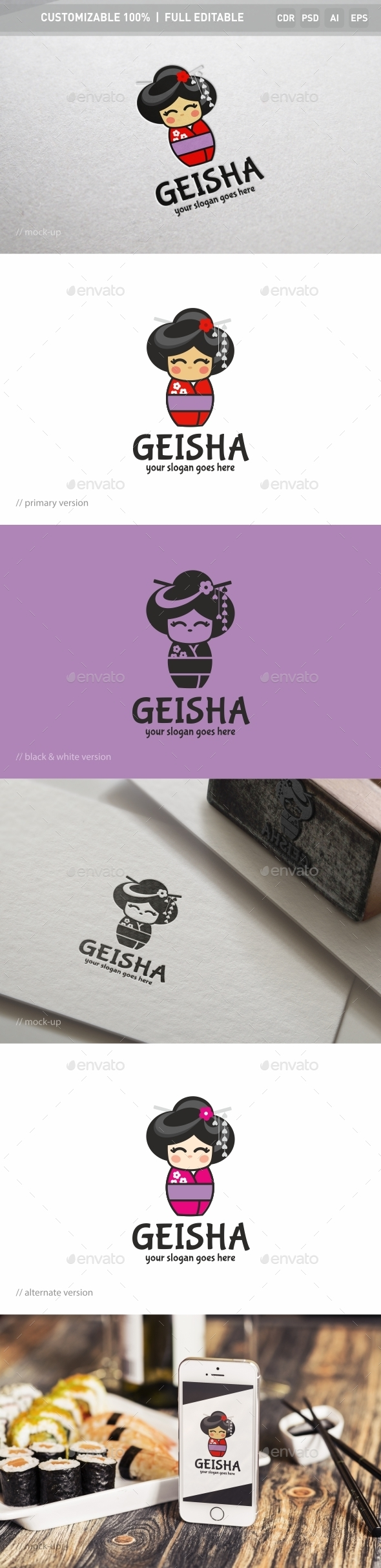 Geisha Logo Template - Objects Logo Templates