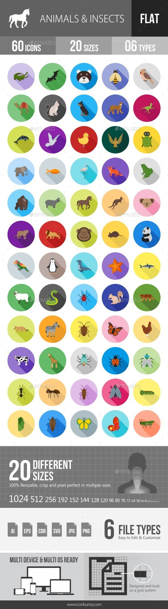 Animals & Insects Flat Shadowed Icons - Icons