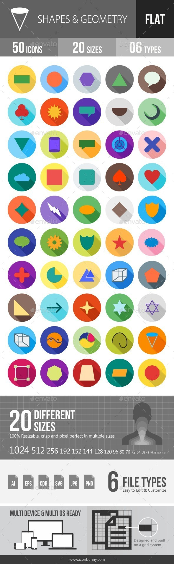 Shapes & Geometry Flat Shadowed Icons - Icons