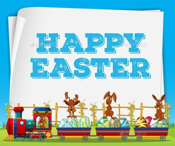 Happy Easter Poster with Rabbits on Train - Animals Characters
