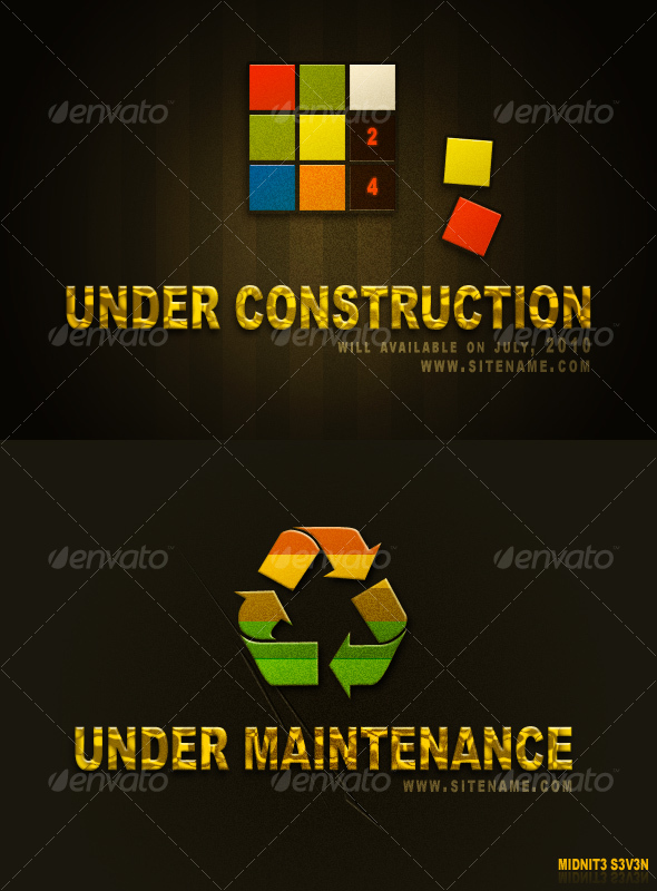 Under Construction & Under Maintenance Set #2 - Miscellaneous Web Elements