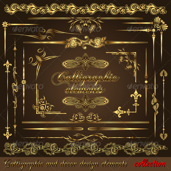Gold calligraphic design elements vol2 - Flourishes / Swirls Decorative