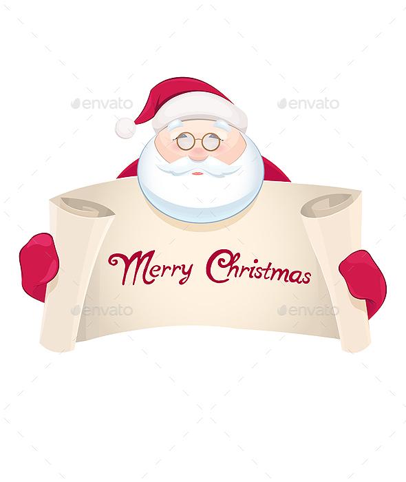Santa Claus with Greetings Banner - Christmas Seasons/Holidays