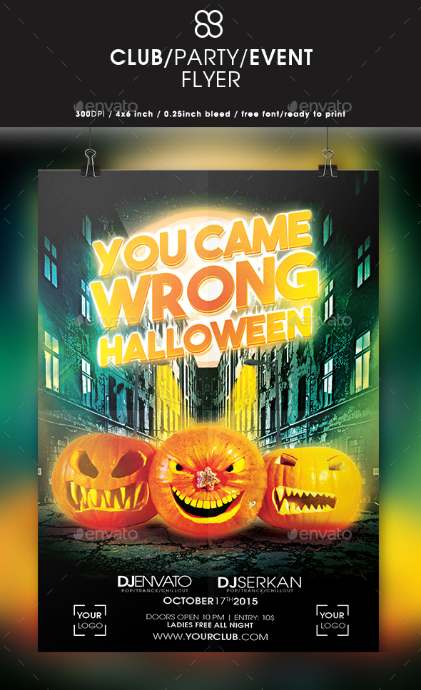 You Came Wrong Halloween Flyer - Clubs & Parties Events