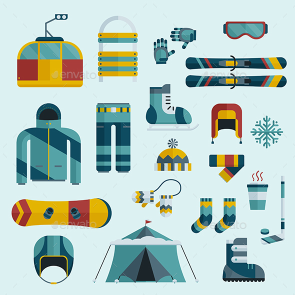 Winter Sports Gear Flat Icon Set - Sports/Activity Conceptual