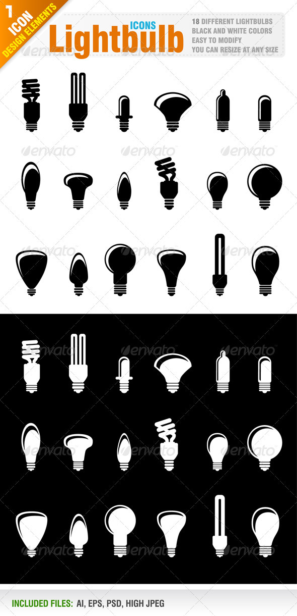 18 Lightbulb icons - Objects Vectors