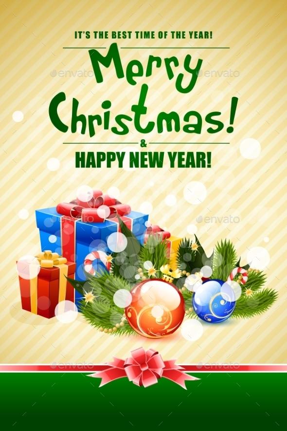 Christmas Card with Fir Twigs and Decorations - Christmas Seasons/Holidays