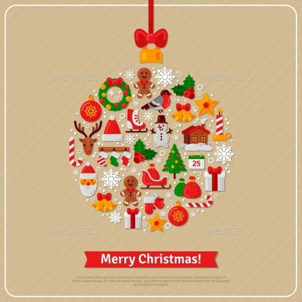 Christmas Ball Assembled from Christmas Icons - Christmas Seasons/Holidays