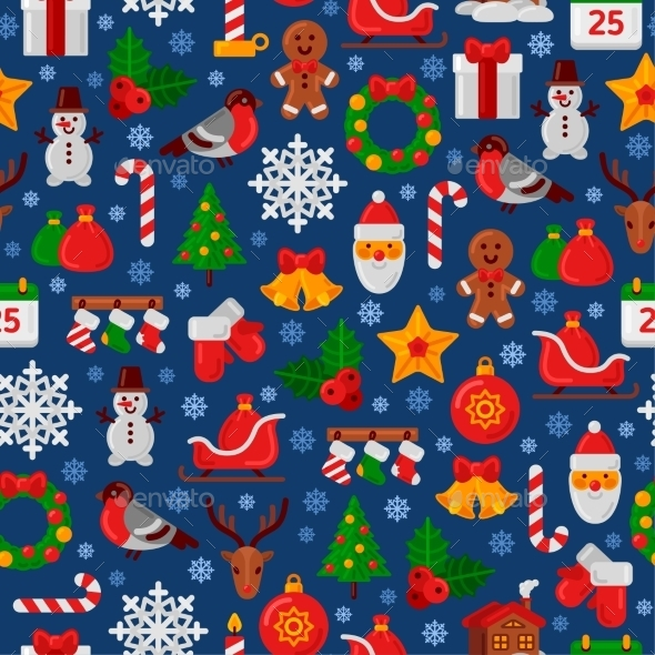 Seamless Pattern with Christmas Flat Icons - Christmas Seasons/Holidays