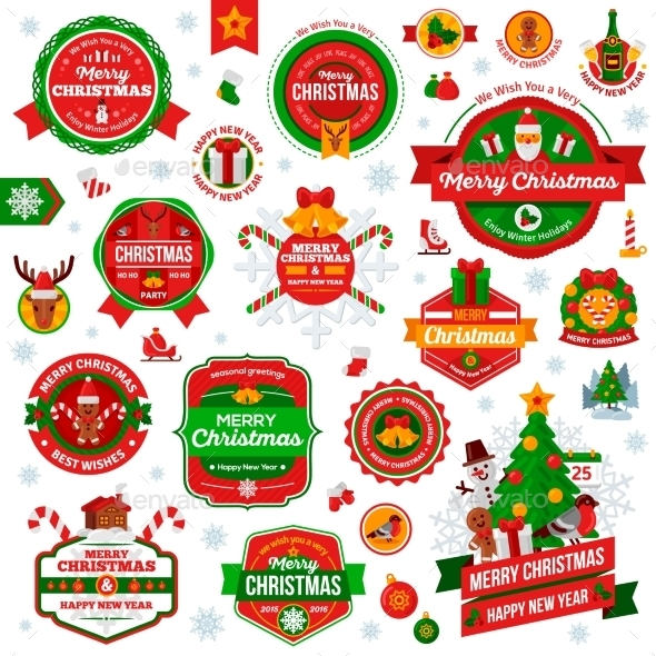 Vintage Happy New Year and Merry Christmas Badges - Christmas Seasons/Holidays