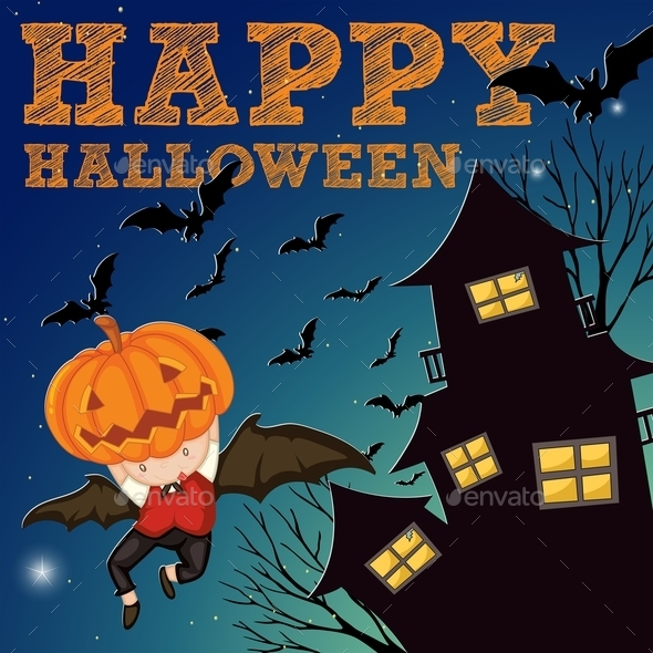 Halloween Theme with Haunted House - Halloween Seasons/Holidays