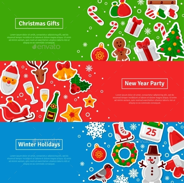 Merry Christmas Horizontal Banners Set - Christmas Seasons/Holidays