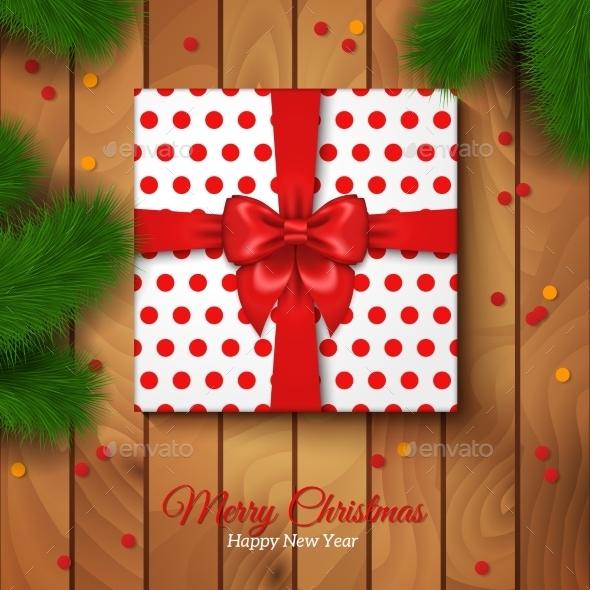 Christmas Gift Box Wrapping with Red Bow - Christmas Seasons/Holidays