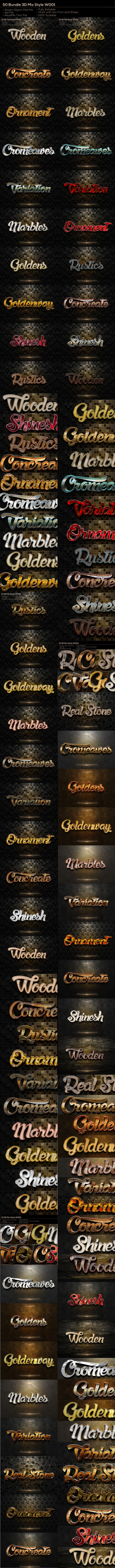50  3D Text Style W001Okt - Text Effects Styles