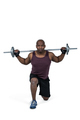 Fit man exercising with barbell on white background