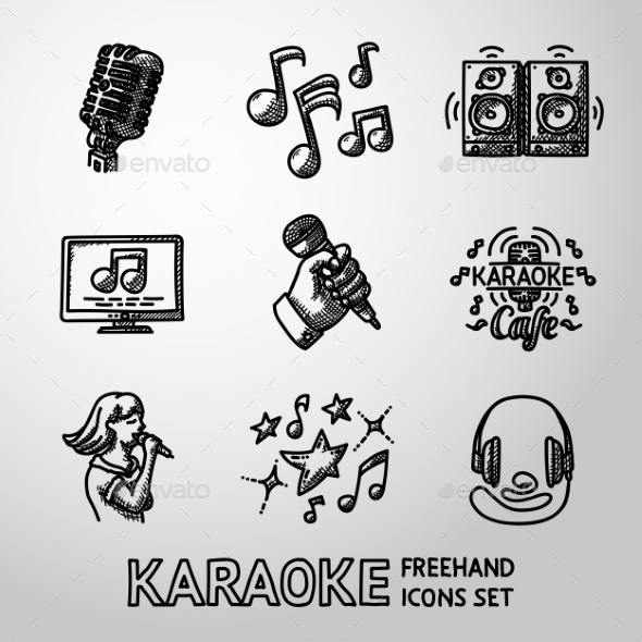 Set Of Karaoke Singing Freehand Icons - Microphone - Icons