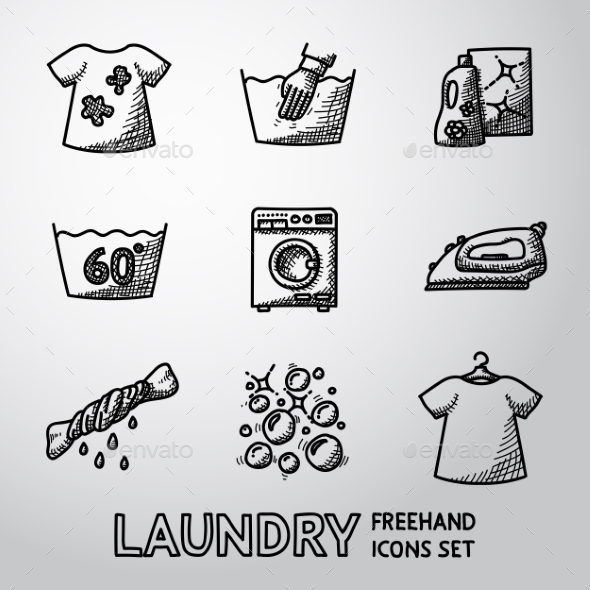 Set Of Freehand Laundry Icons With - Clean And - Icons