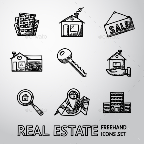 Set Of Freehand REAL ESTATE Icons - Landscape - Icons