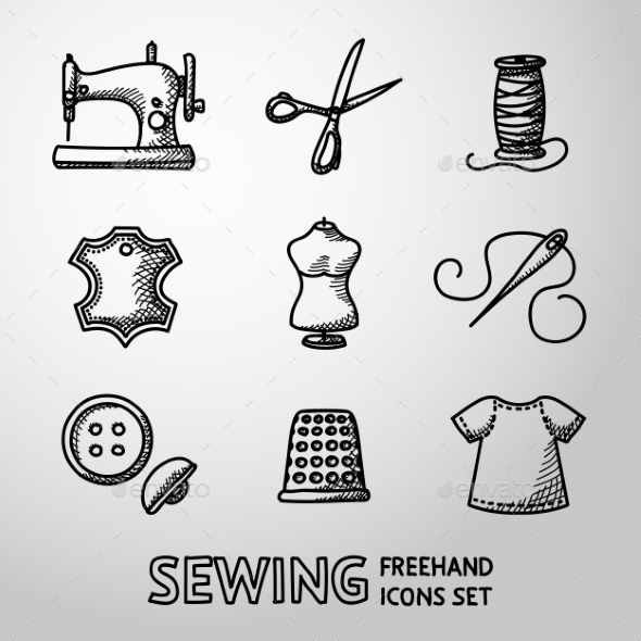 Set Of Handdrawn Sewing Icons - Machine, Scissors - Icons