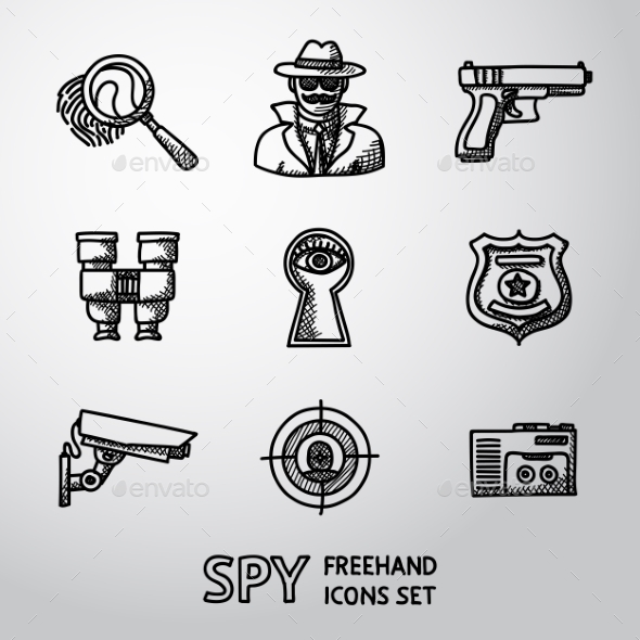 Set Of Spy Handdrawn Icons - Fingerprint, Spy, Gun - Icons
