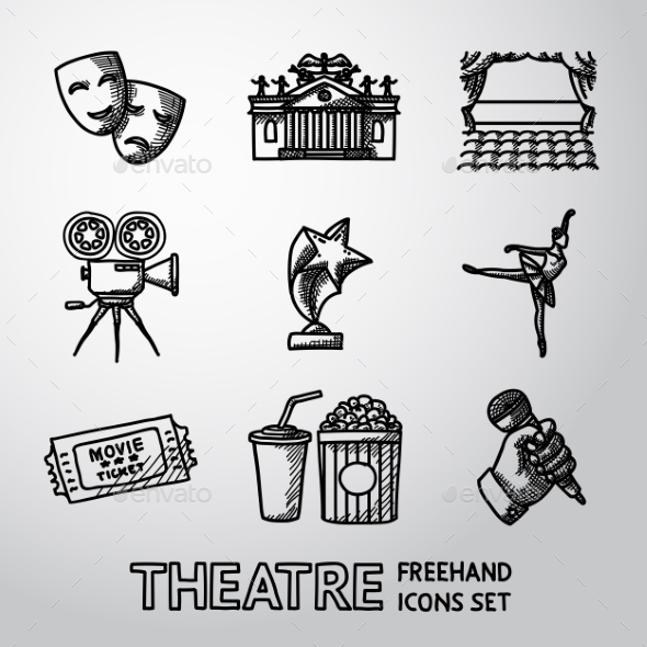 Set Of Freehand Theatre Icons - Masks, Theater - Icons