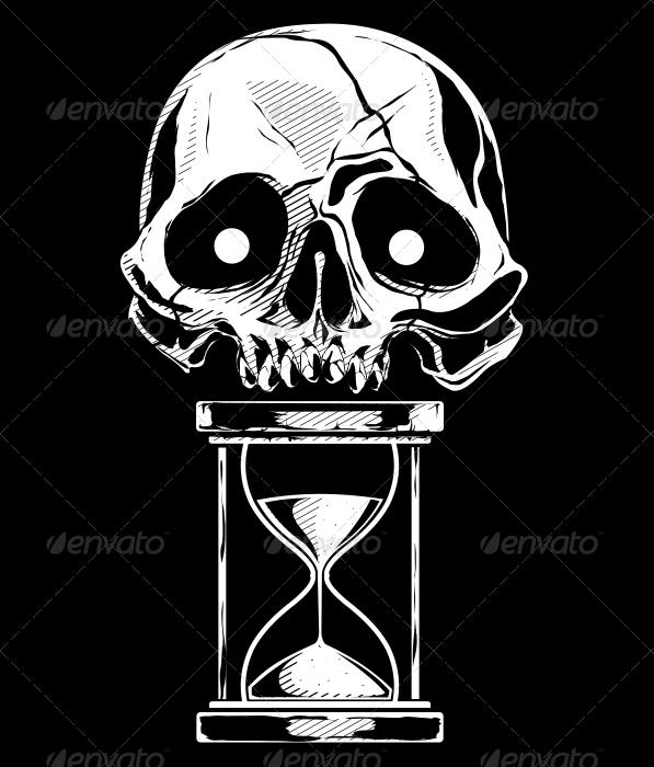 Skull with Sandtime - Tattoos Vectors