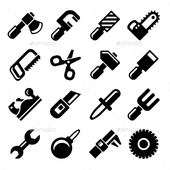 Working Tools Icon Set. Vector - Technology Icons