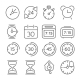 Time And Clock Icons, Flat Design, Thin Line Style - GraphicRiver Item for Sale