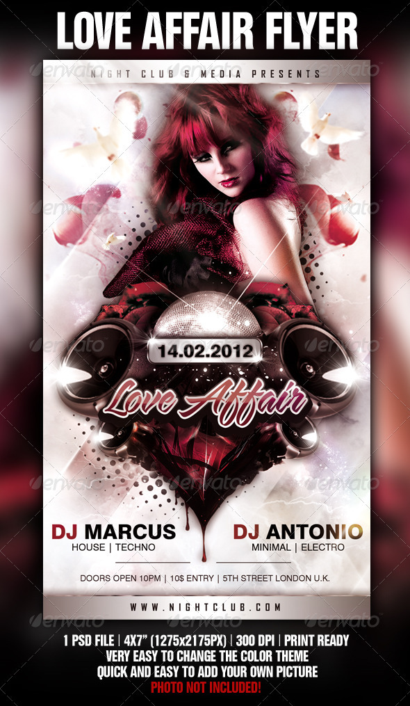 Love Affair Flyer Template - Clubs & Parties Events