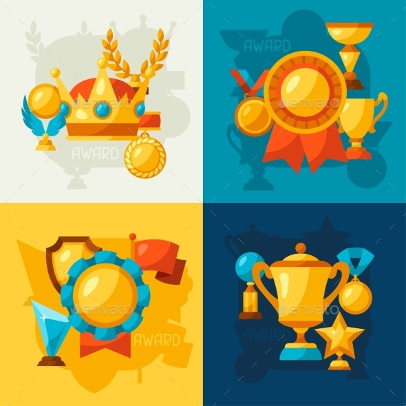 Sport Or Business Backgrounds With Award Icons - Sports/Activity Conceptual