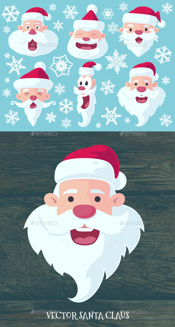 Flat Santa Claus Heads - People Characters