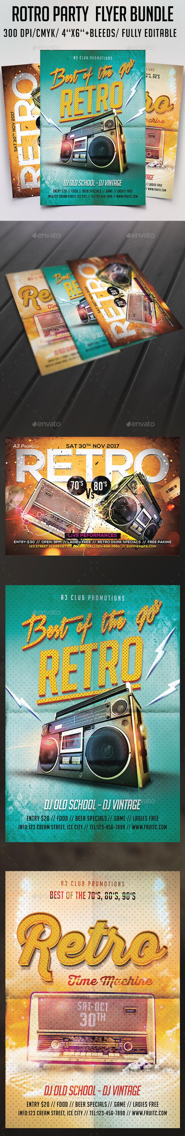 Retro Party Flyer Bundle - Clubs & Parties Events
