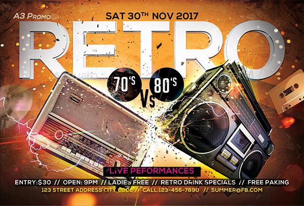 retro party flyer bundle by arrow3000
