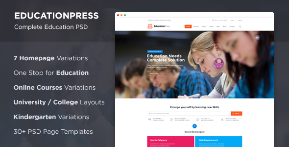 EducationPress – Complete Education PSD