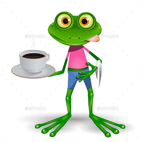 Frog with Cup of Coffee - Animals Characters