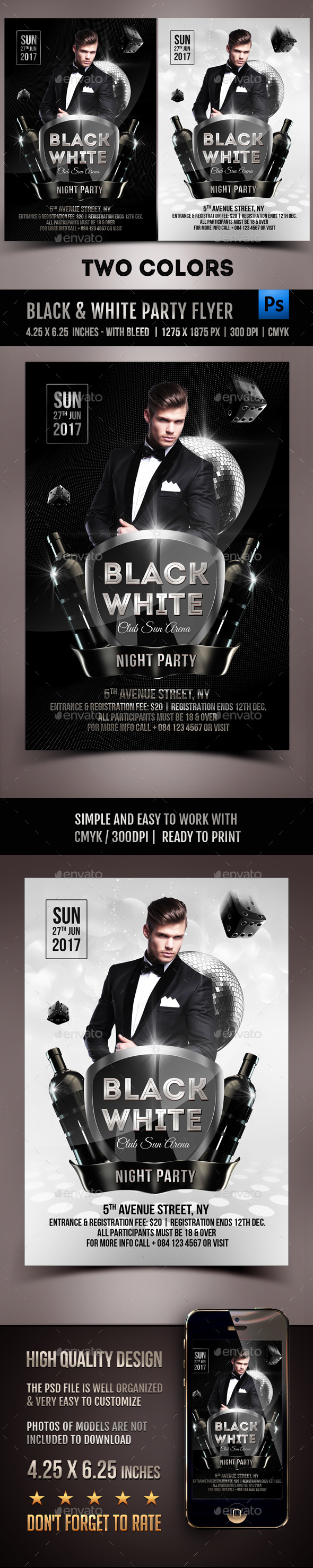 Black & White Party Flyer - Clubs & Parties Events